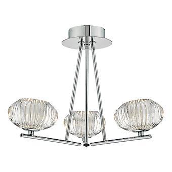 DAR JENSINE Semi Flush Sufit Światło światło polerowane chromowane i fasetowane szkło, 3x G9