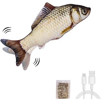 Moving Fish Cat Toy, Realistic Plush Simulation Electric Wagging Doll