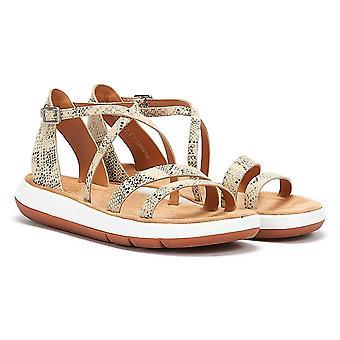 Clarks Jemsa Strap Snake Womens Taupe Sandals