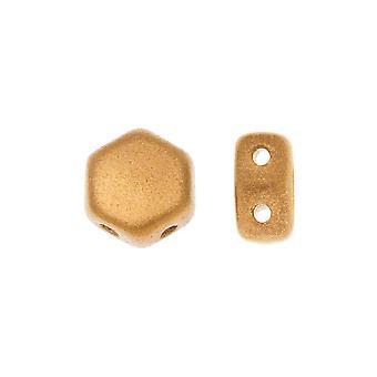 Czech Glass Honeycomb Beads, 2-Hole Hexagon 6mm, 30 Pieces, Crystal Bronze Pale Gold