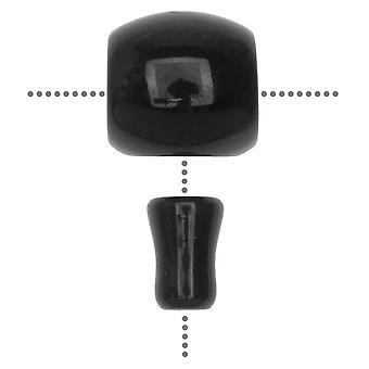 الأحجار الكريمة جورو الخرز، Agate، برميل 18mm، 1 مجموعة، أسود