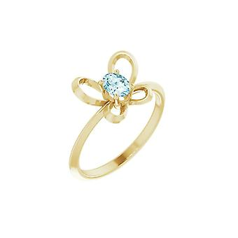 14k Yellow Gold December Oval 4x3mm Polished Butterfly Angel Wings Youth Ring Size 3 - 1.1 Grams