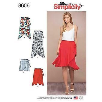 البساطة الخياطة نمط 8606 يفتقد السيدات التفاف تنورة الحجم 14-22 Uncut
