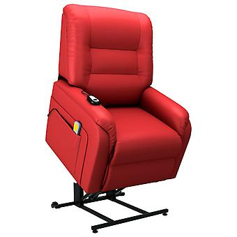 vidaXL masaż fotel TV ze stand-up pomocy Electric Red leatherette