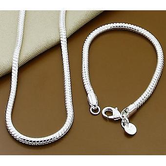 Silber solid Schlange Kette Armband Männer