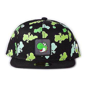Nintendo - Unisexe Super Mario Bros. Yoshi Silhouette All-Over Print avec logo Badge Snapback Baseball Cap (Noir)