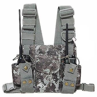 new pt-08 camo chest harness front pack pouch holster vest rig for walkie talkie sm45547