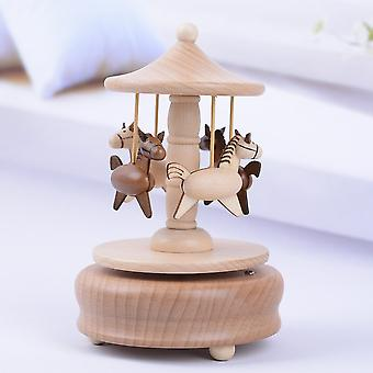Yp1502 Vintage Wooden Spring Carousel Music Box Christmas Gift Merry-go-round