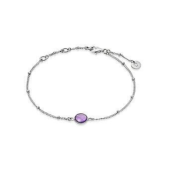 Daisy Amethyst Healing Stone Bobble Silver Bracelet HBR1002_SLV