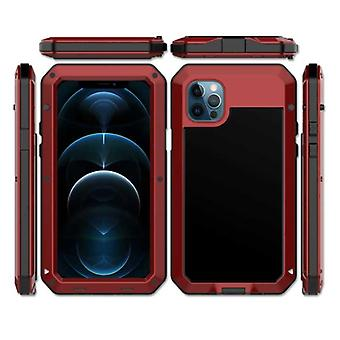 R-JUST iPhone 12 Pro 360° Full Body Case Tank Cover + Screen Protector - Shockproof Cover Metal Red