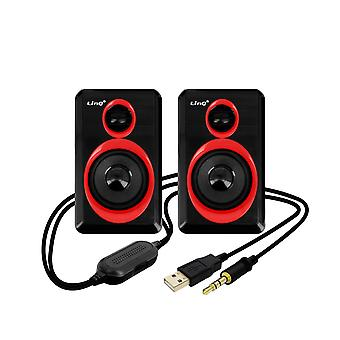 Wired 3.5mm x 2 PC Desktop Speaker System LinQ A5000 Black and Red