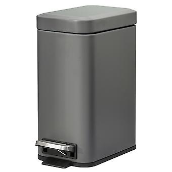HOMCOM 5L Rectangular Compact Bin Steel Body Removable Bucket Quiet-Close Lid w/ Pedal Lid Rubbish Trash Can Home Office Bedroom Bathroom Living Room Garbage Tidy Clean Grey