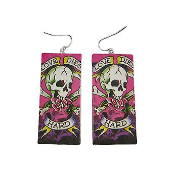 L'amour meurt papier dur oeuvre Dangle Earrings tatouage
