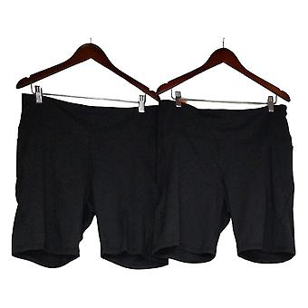 Danskin Women's Bike Shorts Large 2-Pack w/side slits Black