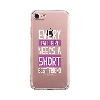 Lång tjej behöver kort bästa vän Transparent söt tydlig Phonecase