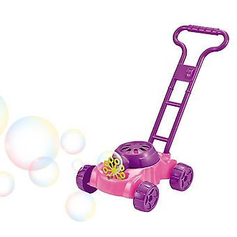 Children Foam Mower Toy Outdoor Game Non Toxic Fun Automatic Bubble Machine With Music (Purple)