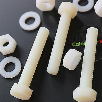 10x naturligt nylon hex huvud, M10 x 60mm, plastmuttrar och bultar, brickor, Hexagon, Nylon