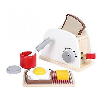 Wooden Coffee Kitchen Machine Pretend Simulation Toaster Educational Toys