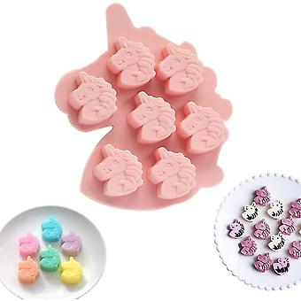Unicorn Head Silicone Mould Cake Decorating Chocolate Cookies 7-cavity (pink)