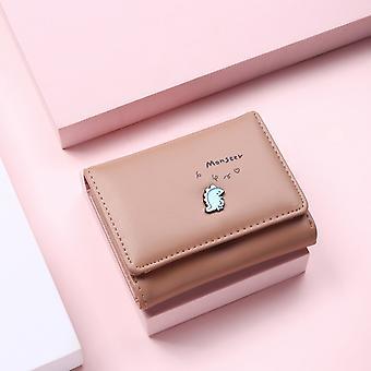 Frauen Süße kleine Dinosaurier Brieftasche Schnalle Falten Mädchen Brieftasche Marke Entworfen Pu Leder Münze Geldbörse Weibliche Kartenhalter