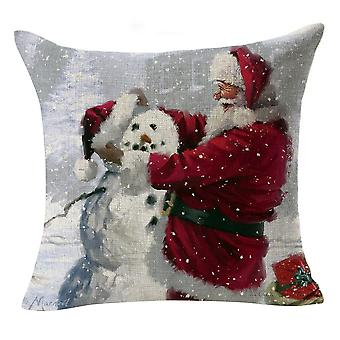 Homemiyn 4 Pcs Linen Christmas Snowman Santa Print Pillow Cover Pillowcase,45x45cm