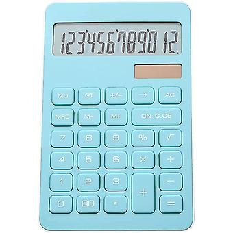 Basic Calculator With Large Sensitive Buttons, 12-digit Large Lcd Screen Solar, Battery Desktop Electronic Calculator, (blue)