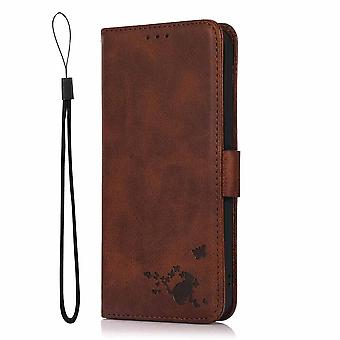 Case For Samsung Galaxy S21 Ultra Wallet Flip Pu Leather Cover Card Holder Coque Etui - Brown Cat