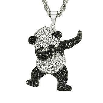 Sweater Chain Diamond Panda Long Necklace Pendant,76cm30inch,golden
