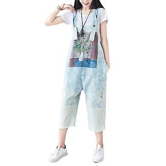 Woman Ripped Jeans Loose Printed Overalls
