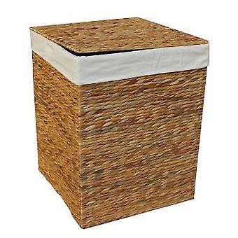 Large Water Hyacinth Square Laundry Basket