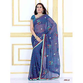 Alak scuro blu Georgette Designer partito indossare Sari saree