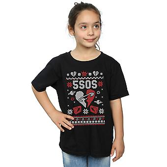 5 Seconds Of Summer Girls Christmas Heart T-Shirt