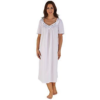 Slenderella weiß Baumwolle Lavendel bestickt Nachthemd ND04250 46