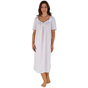 Slenderella bílá bavlna levandulka vyšívané 46