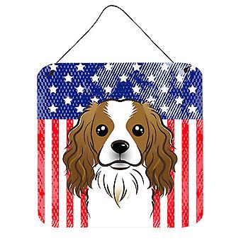 Amerykańską flagę i Cavalier Spaniel ściany lub drzwi wiszące drukuje