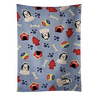 Dog House Collection Shih Tzu Black White Kitchen Towel