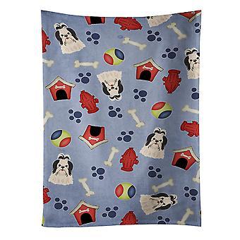 Pies dom kolekcji Shih Tzu czarny kuchnia biały ręcznik