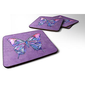Carolines skatter 8860FC sett med 4 Butterfly på lilla skum Coasters