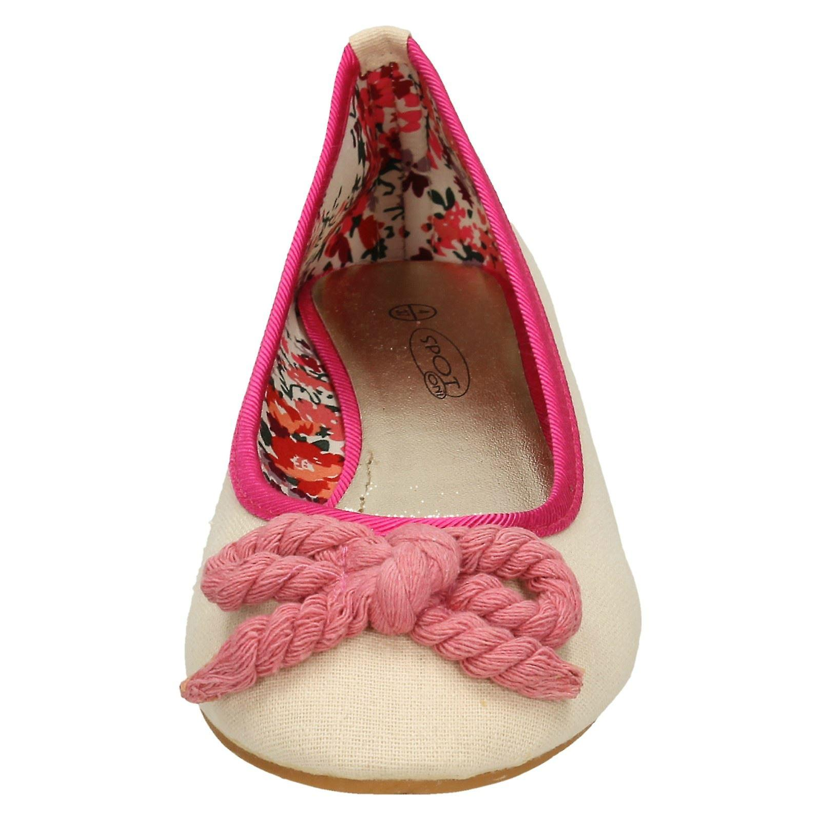 Ladies Spot On Flat Ballerina with Rope Bow Vamp