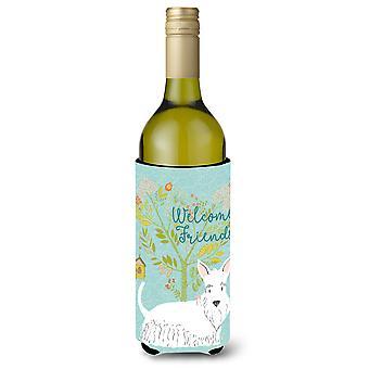 Welkom vrienden witte Schotse Terriër wijnfles Beverge isolator Hugger