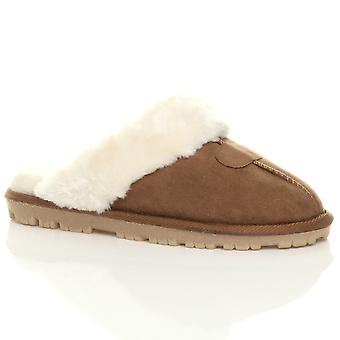 Ajvani Womens flache Winter faux Schaffell Fell gefüttert Slip-on-Luxus Pantoletten Hausschuhe Schuhe