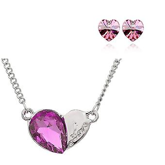 Womens Light Pink Pendant Heart Jewellery Necklace And Earrings Crystal Set