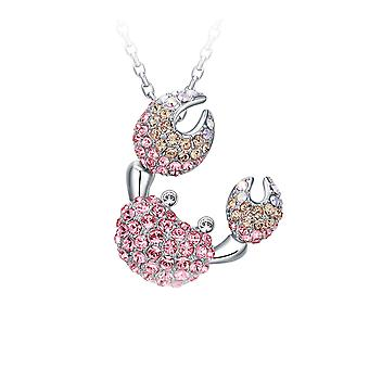 Women's Crab pendant adorned with Swarovski Rose crystal and Rhodium Plate3168