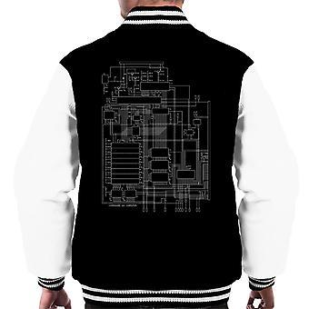 Commodore 64 Computer Schematic Men's Varsity Jacket