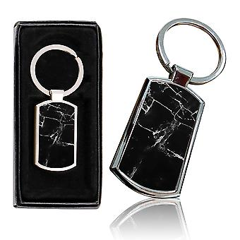 i-Tronixs - Premium Marble Design Chrome Metal Keyring with Free Gift Box (2-Pack) - 0054