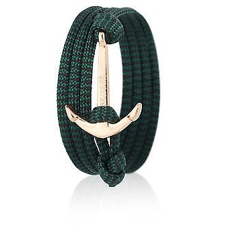 Bracelet de bracelet d'ancrage en Nylon vert/noir avec ancre dorée le capitaine 6638