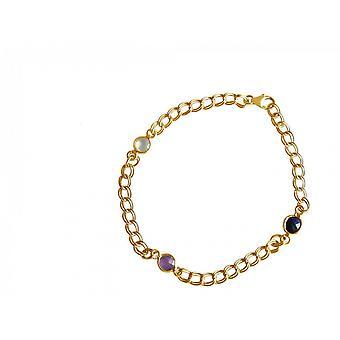 Sapphire - Amethyst - Rosa - Rose Quartz - gold-plated ladies - bracelet - - blue - violet - chain - smooth