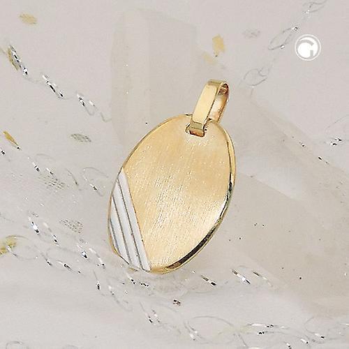 Anhänger 18x13mm Gravurplatte oval bicolor rhodiniert diamantiert 9Kt GOLD