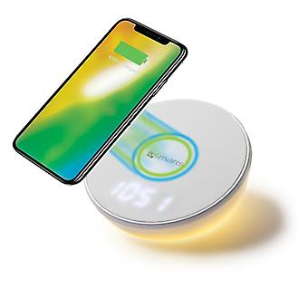 Inductive quick charger 10W charging station Qi NFC wireless charger + clock and motion light