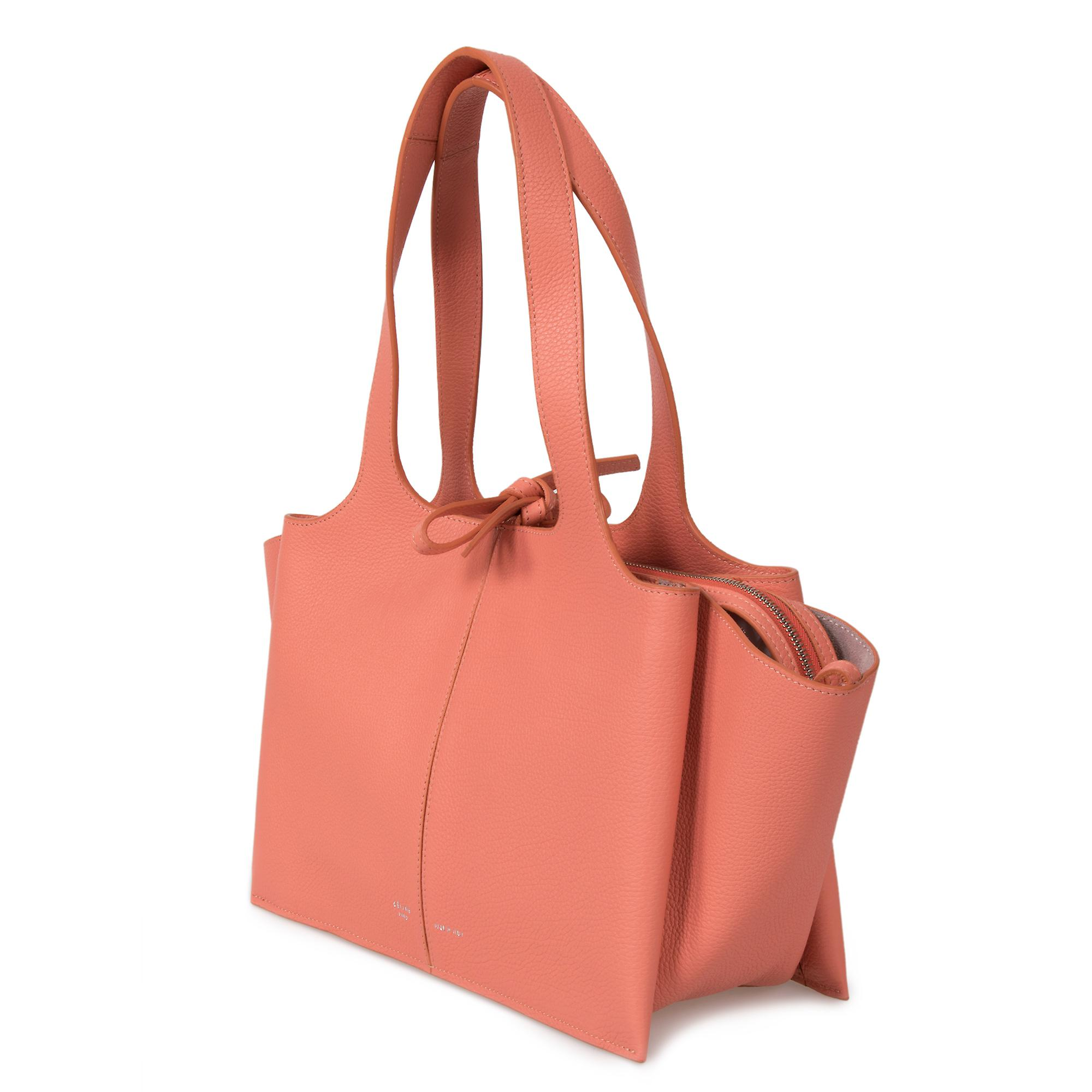 Celine Tri-Fold Shoulder Bag | Peach Grained Calfskin Leather